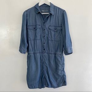 Gap Chambray Denim Shorts Romper Jumper